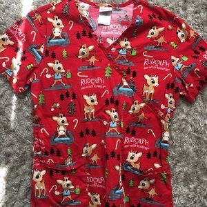 •Rudolph Christmas Scrub Top•